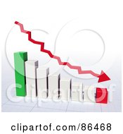 Royalty Free RF Clipart Illustration Of A Red Loss Arrow Over A 3d Bar Graph by Mopic