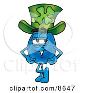 Water Drop Mascot Cartoon Character Wearing A Saint Patricks Day Hat With A Clover On It