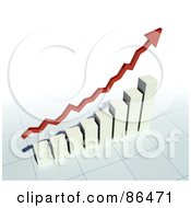 Royalty Free RF Clipart Illustration Of A 3d Red Profit Arrow Over A Bar Graph by Mopic