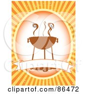 Royalty Free RF Clipart Illustration Of A Retro Smoking Bbq Label With A Blank Banner Over Orange by mheld