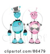 Royalty Free RF Clipart Illustration Of A Blue And Pink Robot Wedding Couple by mheld