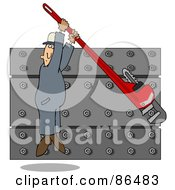Royalty Free RF Clip Art Illustration Of A Worker Man Hanging From A Monkey Wrench While Tightening A Wall Of Nuts