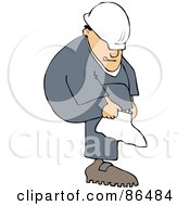 Royalty Free RF Clipart Illustration Of A Caucasian Worker Man Putting A Cover On Over His Boot by djart