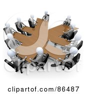 Royalty Free RF Clipart Illustration Of 3d White Business People In A Meeting Around A Wooden Yen Shaped Table