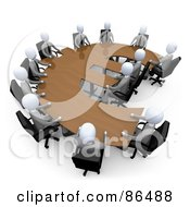 Royalty Free RF Clipart Illustration Of 3d White Business People In A Meeting Around A Wooden Euro Shaped Table