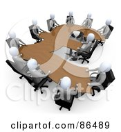 Royalty Free RF Clipart Illustration Of 3d White Business People In A Meeting Around A Wooden Pound Shaped Table