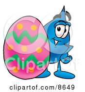 Clipart Picture Of A Water Drop Mascot Cartoon Character Standing Beside An Easter Egg