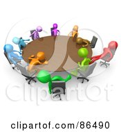 Royalty Free RF Clipart Illustration Of A 3d Meeting Of Colorful People Passing Out Around A Round Table
