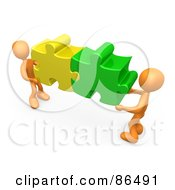 Royalty Free RF Clipart Illustration Of Two 3d Orange People Holding Together Colorful Puzzle Pieces To Find A Solution