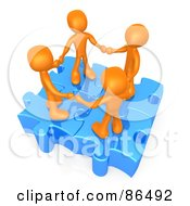 Four 3d Orange People Holding Hands On Linked Puzzle Pieces