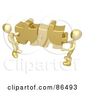Two 3d Gold People Holding Together Puzzle Pieces To Find A Solution
