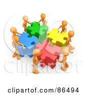 Royalty Free RF Clipart Illustration Of 3d Orange People Pushing Together Large Colorful Puzzle Pieces To Find A Solution