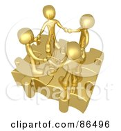Royalty Free RF Clipart Illustration Of Four 3d Golden People Holding Hands On Linked Puzzle Pieces