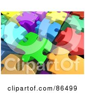 Royalty Free RF Clipart Illustration Of A Background Of 3d Tall Colorful Puzzle Pieces With Space Between Them