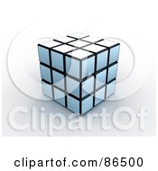 Royalty Free RF Clipart Illustration Of A 3d White And Black Puzzle Cube On A Reflective Surface by 3poD