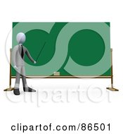 Royalty Free RF Clipart Illustration Of A 3d White Teacher Holding A Pointer To A Chalkboard by 3poD