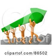 Royalty Free RF Clipart Illustration Of 3d Orange People Carrying A Green Arrow Up Stairs