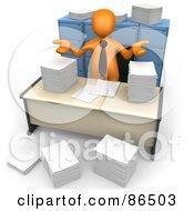 3d Orange Businessman Shrugging Behind Stacks Of Papers At His Desk