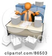 3d Orange Businessman Shrugging Behind Stacks Of Papers At His Desk