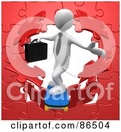 Royalty Free RF Clipart Illustration Of A 3d White Businessman Skateboarding Through A Red Puzzle Wall