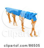 3d Orange People Carrying Blue TEAMWORK