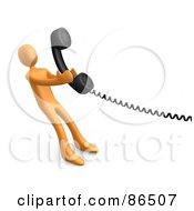 Royalty Free RF Clipart Illustration Of A 3d Orange Person Pulling A Landline Phone Receiver by 3poD