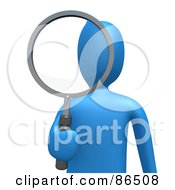 Royalty Free RF Clipart Illustration Of A 3d Blue Person Looking Through A Shiny Magnifying Glass
