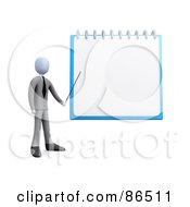 3d Businessman Pointing To A Blank Notepad