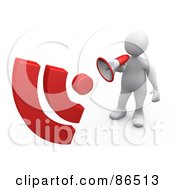 Royalty Free RF Clipart Illustration Of A 3d White Person Using A Megaphone With Red Signals by 3poD