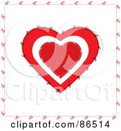 Royalty Free RF Clipart Illustration Of A Stitched Red And White Heart Over White by Pams Clipart