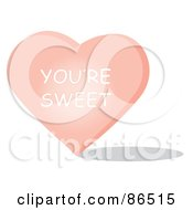 Royalty Free RF Clipart Illustration Of A Pink Candy Heart With A Youre Sweet Message by Pams Clipart