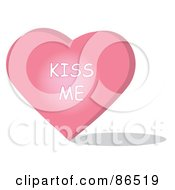 Royalty Free RF Clipart Illustration Of A Pink Candy Heart With A Kiss Me Message