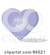 Royalty Free RF Clipart Illustration Of A Purple Candy Heart With A Hug Me Message