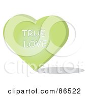 Royalty Free RF Clipart Illustration Of A Green Candy Heart With A True Love Message
