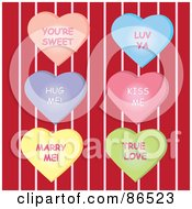 Royalty Free RF Clipart Illustration Of A Digital Collage Of Six Message Heart Candies Over Red And Pink Stripes by Pams Clipart