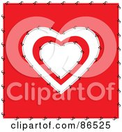 Royalty Free RF Clipart Illustration Of A Stitched Red And White Heart Over Red by Pams Clipart