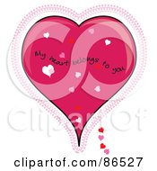 Royalty Free RF Clipart Illustration Of A My Heart Belongs To You Over A Pink Lacy Heart by Pams Clipart