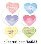 Royalty Free RF Clipart Illustration Of A Digital Collage Of Six Conversational Heart Candies With Messages Over White