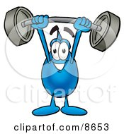 Clipart Picture Of A Water Drop Mascot Cartoon Character Holding A Heavy Barbell Above His Head by Toons4Biz