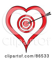Royalty Free RF Clip Art Illustration Of A Black Arrow In A Heart Target by Pams Clipart