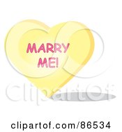 Royalty Free RF Clipart Illustration Of A Yellow Candy Heart With A Marry Me Message