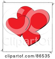 Royalty Free RF Clipart Illustration Of Three Red Sewn Valentine Hearts Over White by Pams Clipart