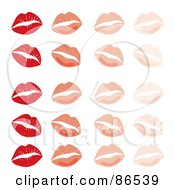 Royalty Free RF Clipart Illustration Of A Background Of Red And Pink Lipstick Kisses In Rows On White