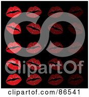 Royalty Free RF Clipart Illustration Of A Background Of Red Lipstick Kisses In Rows On Black