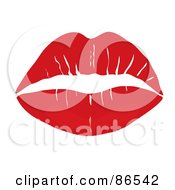 Royalty Free RF Clipart Illustration Of A Lipstick Smooch Kiss In Red by Pams Clipart