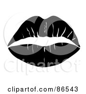 Royalty Free RF Clipart Illustration Of A Lipstick Smooch Kiss In Black