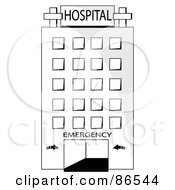 Tall Black And White Hospital Entrance