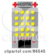 Tall Gray Hospital With Yellow Windows