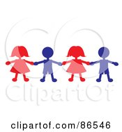 Royalty Free RF Clipart Illustration Of A Line Of Red And Blue Paper Doll Boys And Girls Holding Hands by Pams Clipart
