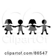 Royalty Free RF Clipart Illustration Of A Line Of Black Paper Doll Boys And Girls Holding Hands